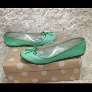 J. Crew Green Bow Leather Ballet Flats